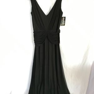 NWT Black tulle calf-length evening dress sz 6P.